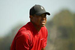 Tiger Woods á Genesis-mótinu í febrúar. Hann hefur ekki keppt síðan.