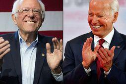 Sanders (til vinstri) og Biden á samsettri mynd.