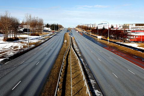 There is not much traffic in Reykjavík these days.