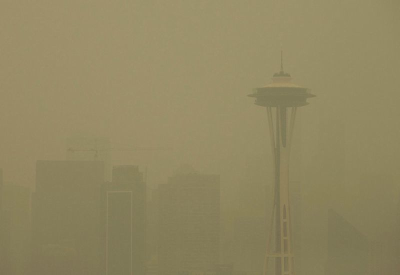 The Space Needle in Seattle, Washington, obscured by smoke from wildfires.
