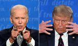 Samsett mynd af Biden og Trump frá síðustu kappræðum.