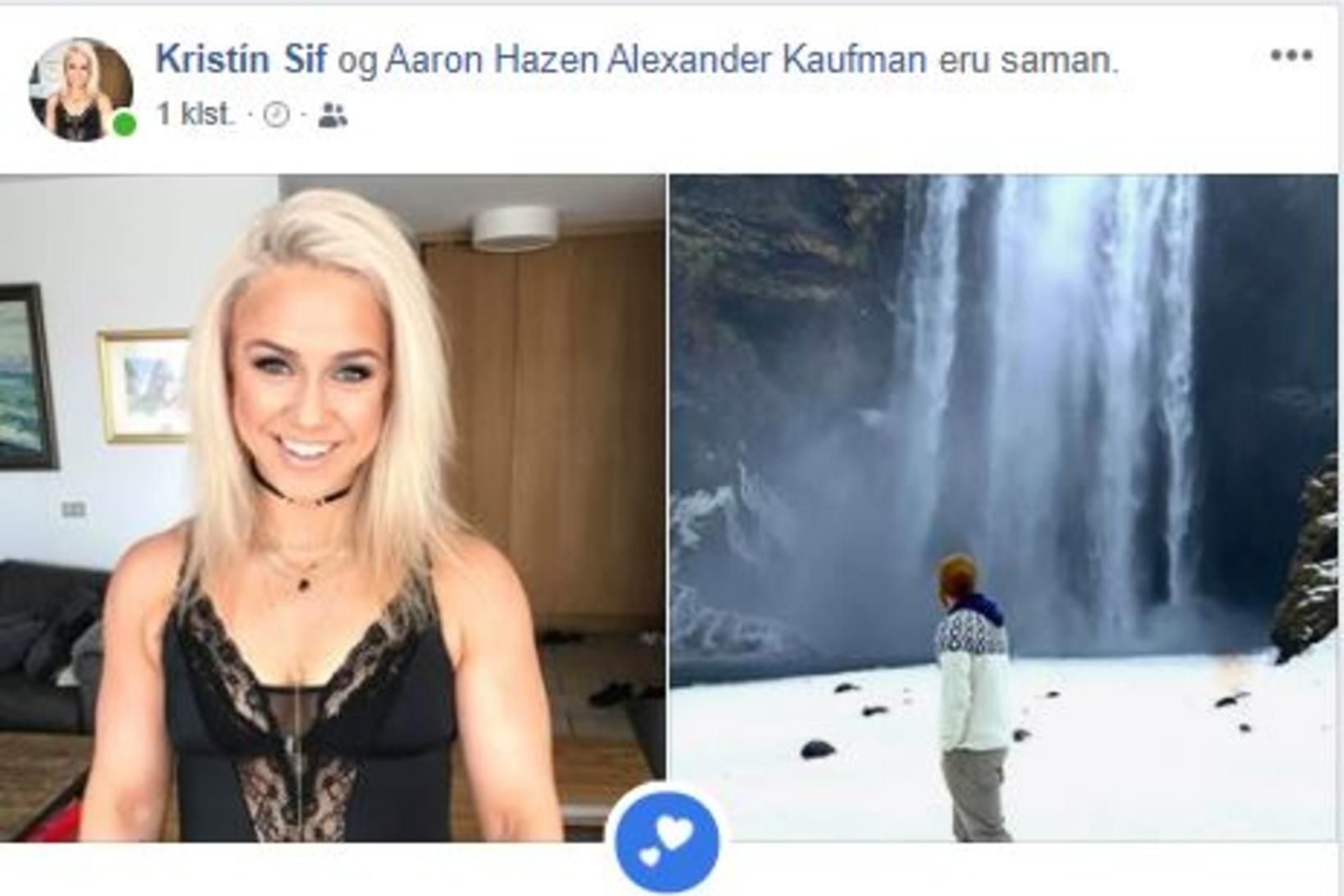 Kristín Sif Björgvinsdóttir og Aaron Hazen Alexander Kaufman eru búin …