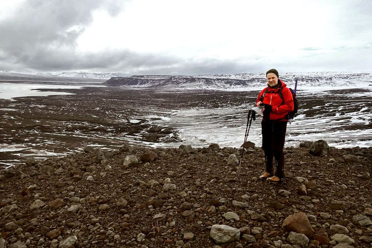 Geologist Haraldur Gunnarsson at Eystri-Hagafellsjökull, a glacier that has retreated by 700 metres in the ...