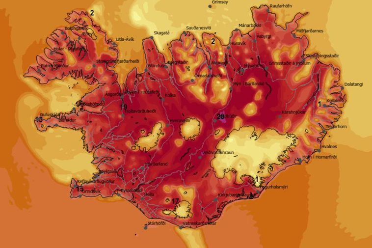 The map shows today's temperature forecast for 4 pm.
