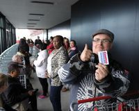 The queue outside Costco shortly after 8 am this morning.
