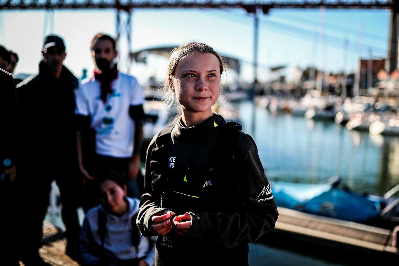 Greta Thunberg í Lissabon í Portúgal.