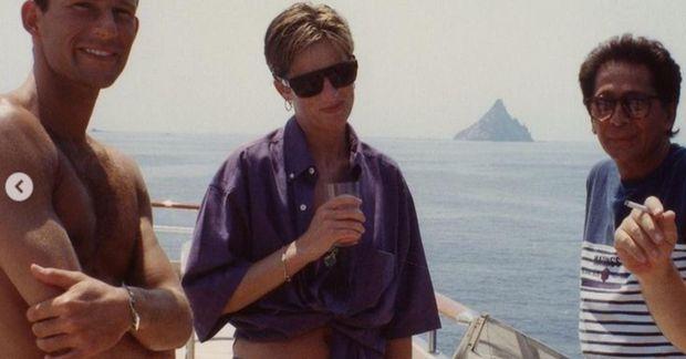 Díana prinsessa á snekkju við Ítalíu.