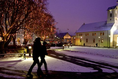 The Reykjavik Cathedral in winter snow. On the left you can see Austurvöllur Parliament square.
