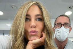 Jennifer Aniston er með ljósara hár en oft áður.