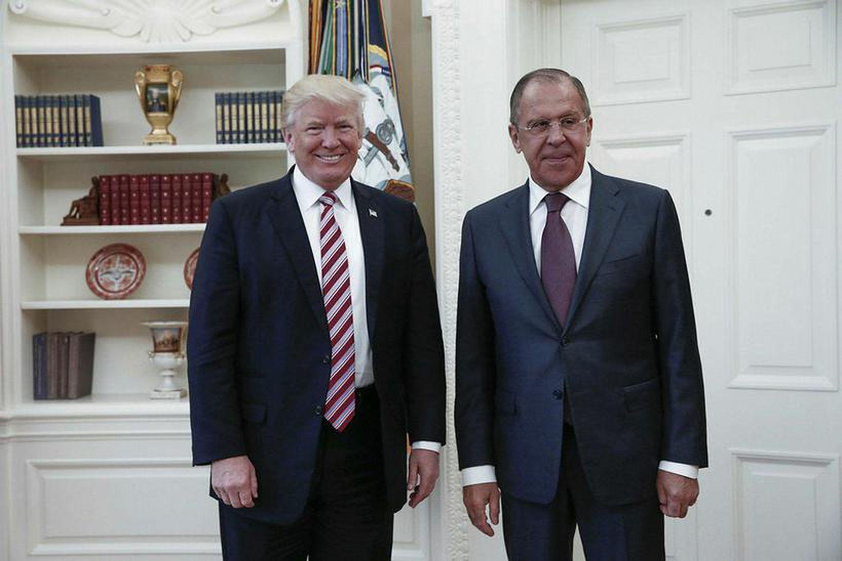 Donald Trump Bandaríkjaforseti og Sergei Lavrov, utanríkisráðherra Rússlands. Rússneska utanríkisráðuneytið …
