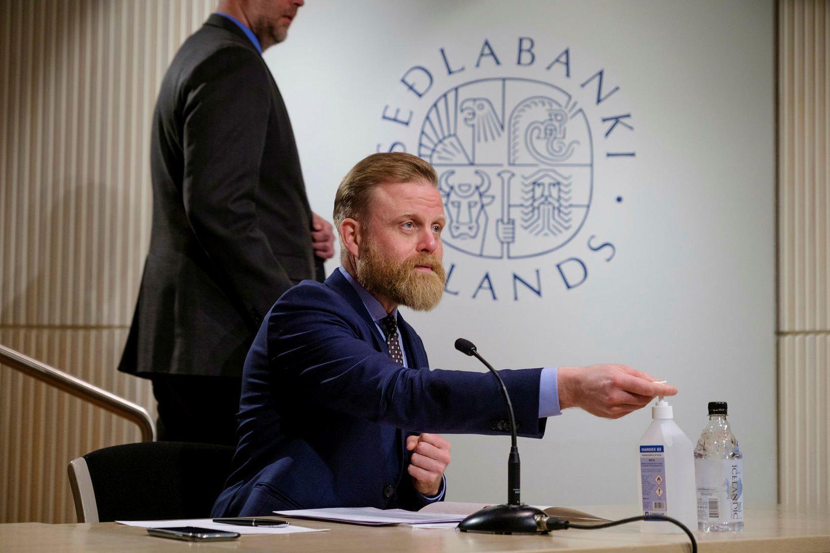 Ásgeir Jónsson seðlabankastjóri flytur ávarp á fundinum.