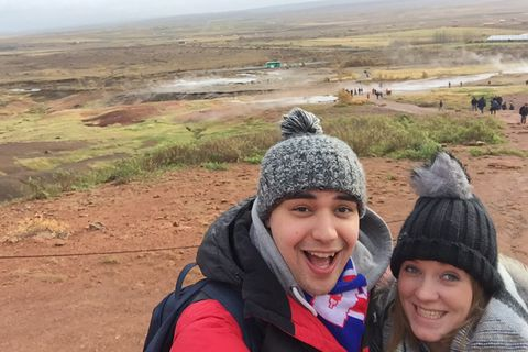 Adam and Cat­her­ine at Geysir.