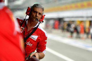 Maurizio Arrivabene á stjórnborði Ferrari í Monza.