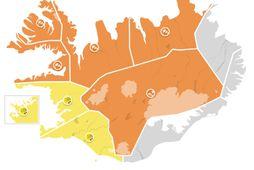 Appelsínugul viðvörun tekur gildi á Breiðafirði, Vestfjörðum, Ströndum og Norðurlandi vestra, Norðurlandi eystra og miðhálendinu …