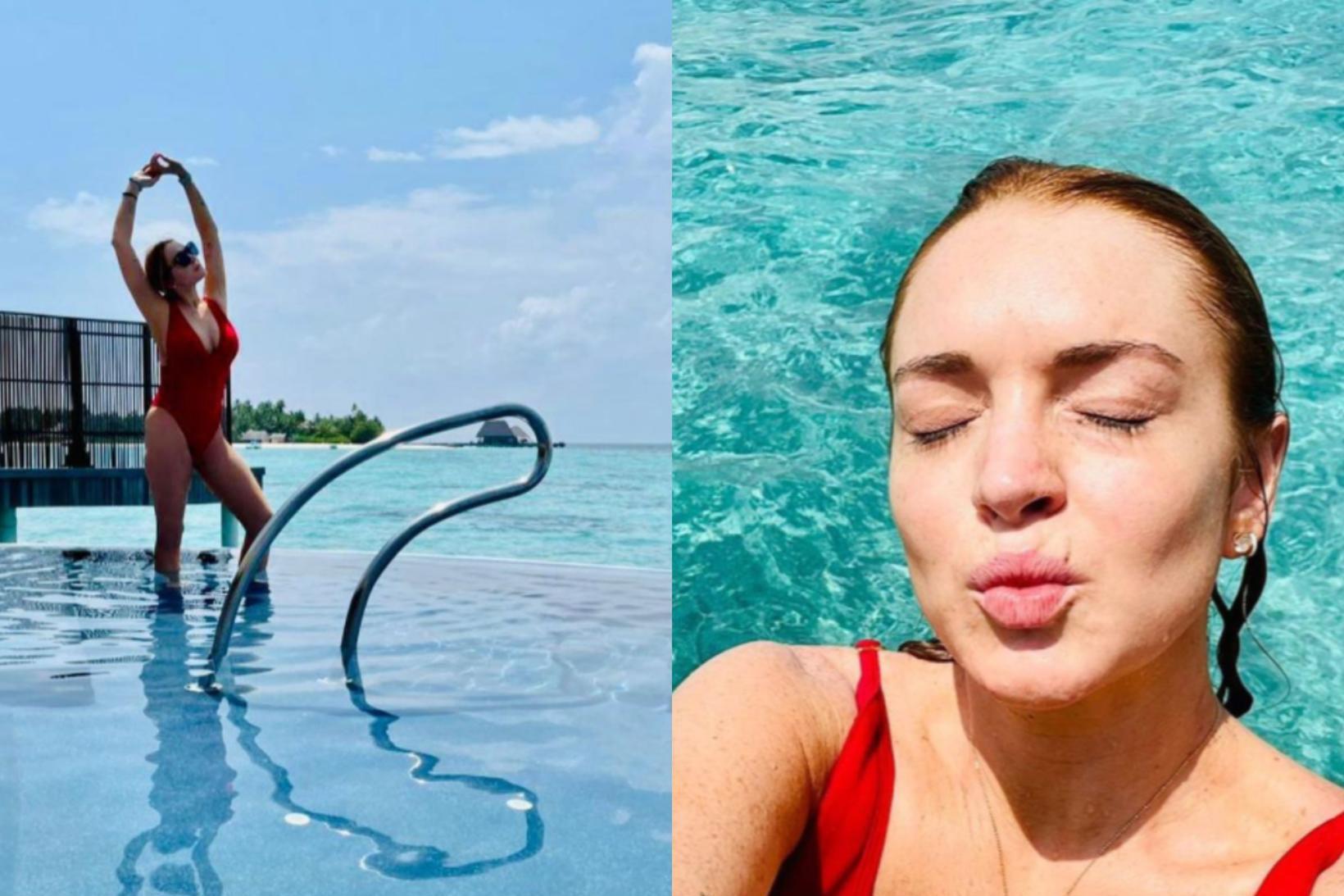 Lindsay Lohan virðist hafa það afskaplega gott á Maldíveyjum um …
