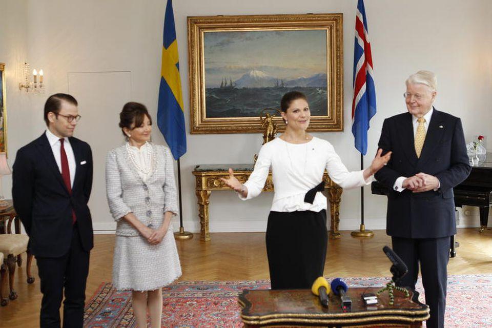 Daníel prins, Dorrit Moussaieff forsetafrú, Viktoría krónprinsessa og Ólafur Ragnar Grímsson, forseti Íslands