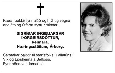 Sigríðar Ingibjargar Þorgeirsdóttur,
