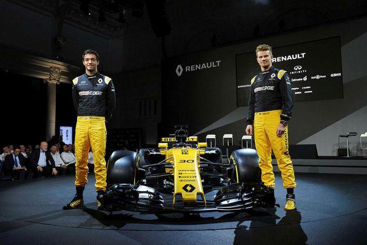 Jolyon Palmer (t.v.) og Nico Hülkenberg keppa fyrir Renault í ár.