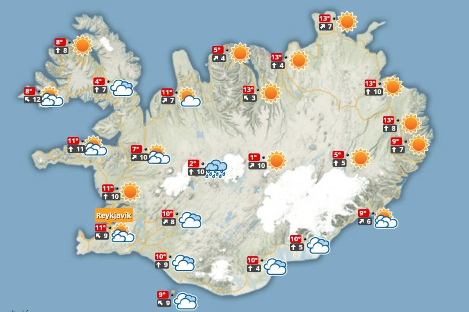 Hiti verður á bilinu 7 til 16 stig.