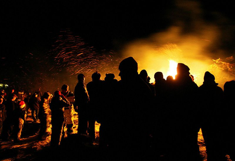 From a New Year's Eve bonfire.