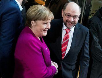 Angela Merkel kanslari og Martin Schulz, formaður Jafnaðarmanna.