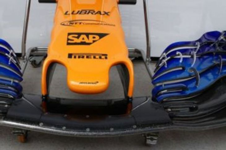 Trjónan sem nú hefur verið tekin úr notkun á McLarenbílnum.