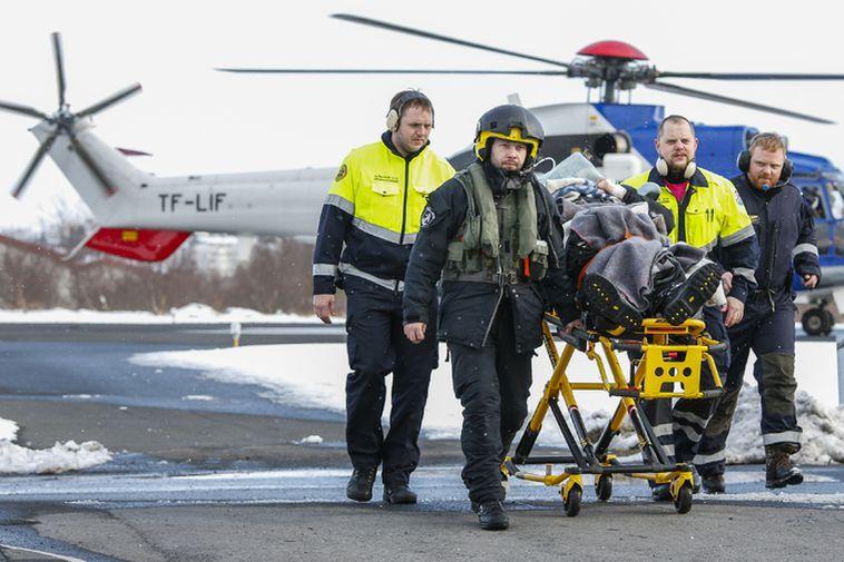 TF-LIF bringing an injured man to hospital in Reykjavik.