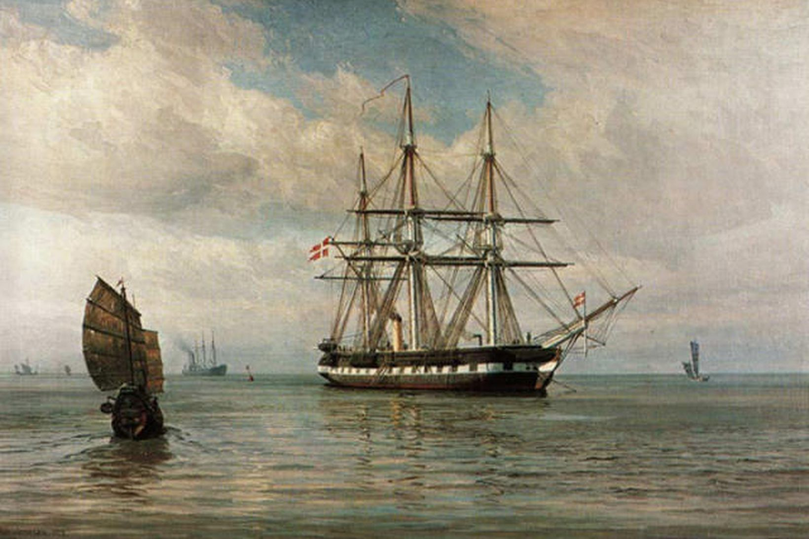Hér sést m.a. freigátan Tordenskjold á olíumálverki danska listamannsins Vilhelms …