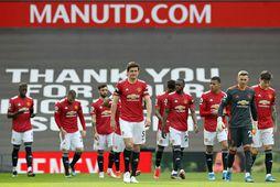 Harry Maguire fyrirliði Manchester United fremstur í flokki fyrir leik liðsins gegn Burnley á sunnudaginn.