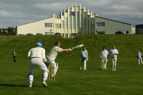 Icelandic cricket players practicing in Hafnarfjörður, Iceland.