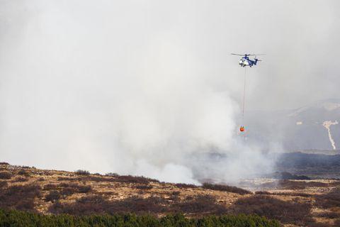 TF-EIR á flugi yfir Heiðmörk með slökkviskjóluna.