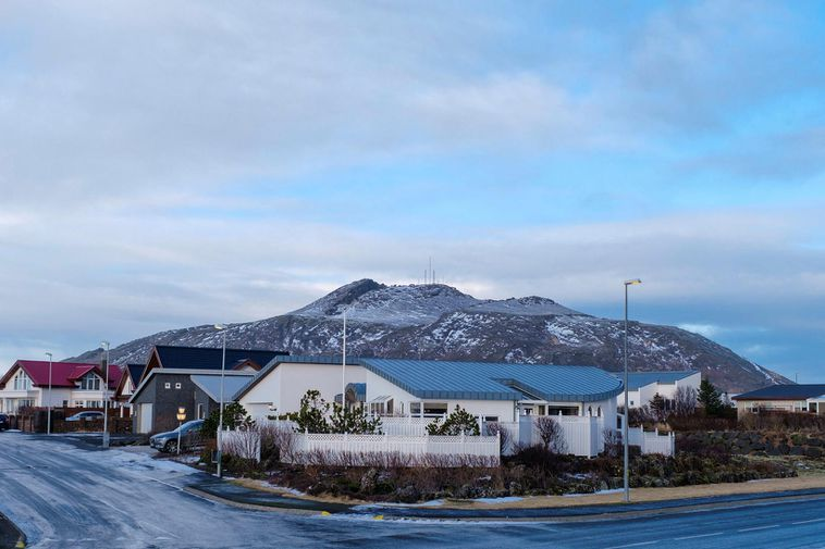 Grindavík. Þorbjörn mountain in the background.