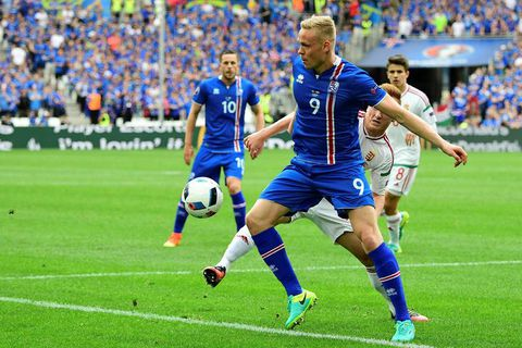 Sigþórsson in action against Hungary.