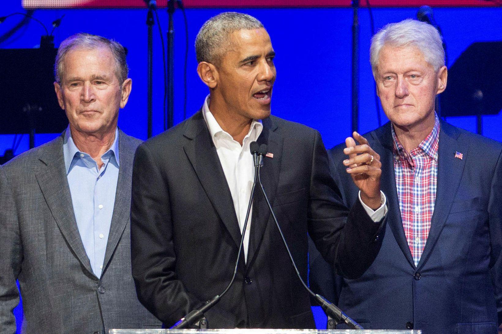 Frá vinstri George W. Bush, Barack Obama og Bill Clinton.