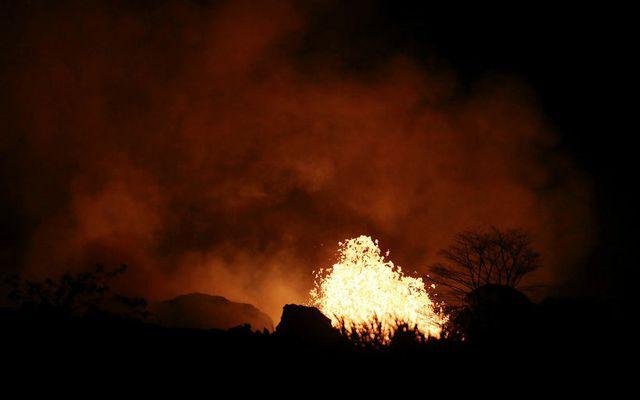 Enn gýs kröftuglega í Kilauea-fjallinu á Hawaii.