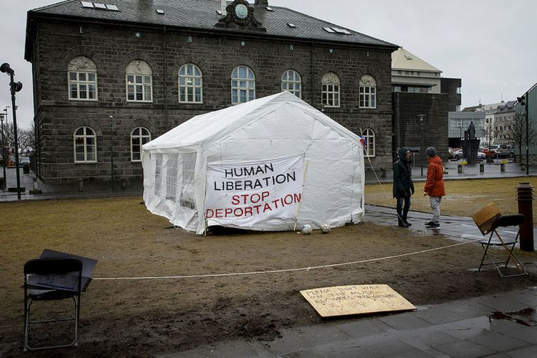 Asylum seekers have protested at Austurvöllur square in recent weeks.