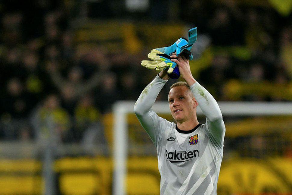 Marc-Andre Ter Stegen eftir leikinn gegn Dortmund í gærkvöld.