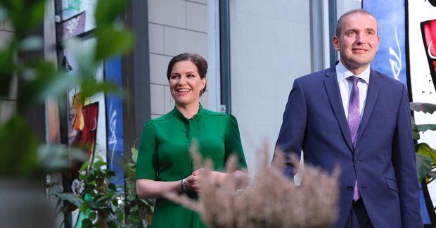 Eliza Reid og Guðni Th. Jóhannesson forseti Íslands á Grand hóteli fyrr í kvöld.