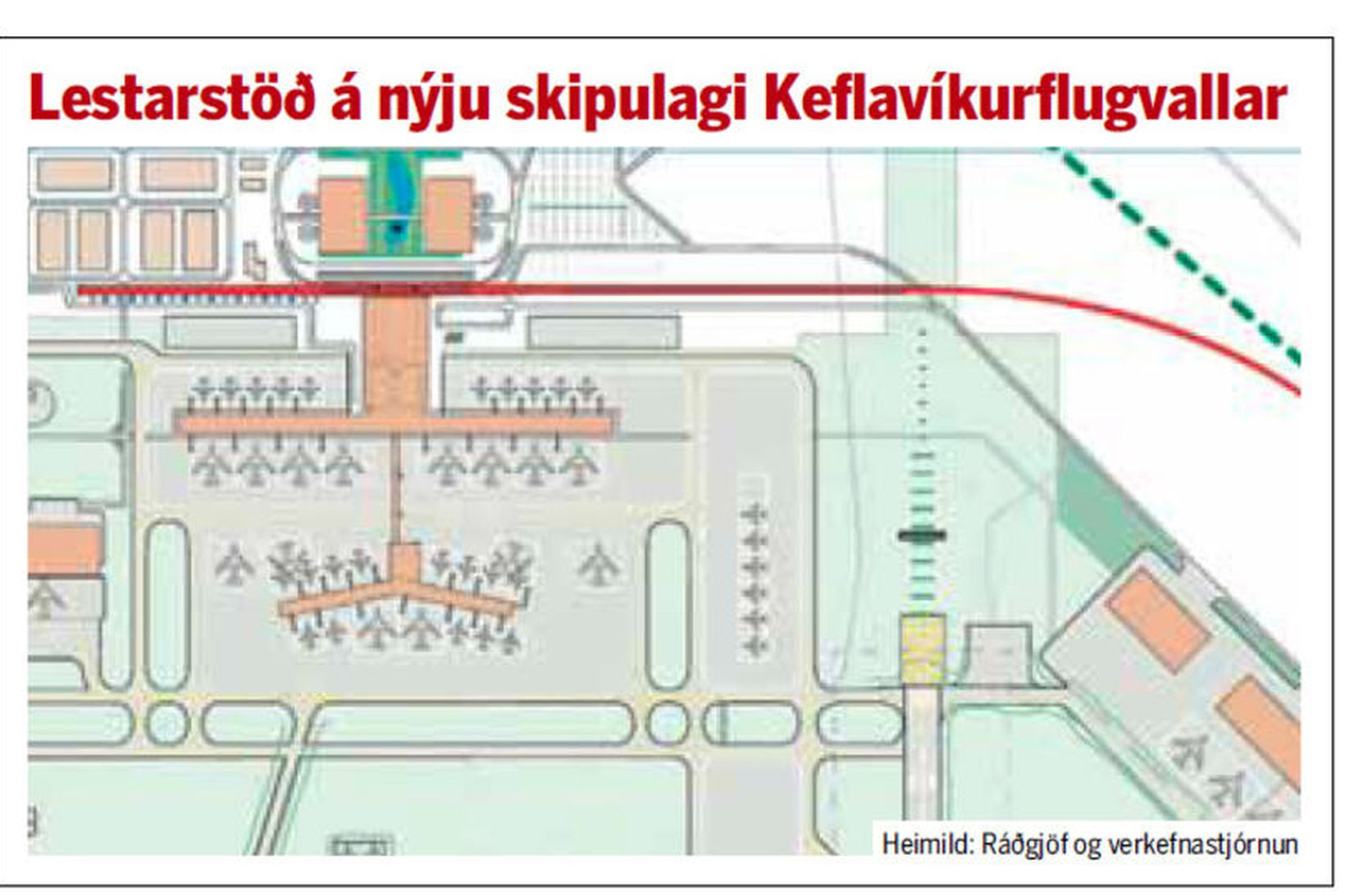 Sjá má lestarlínuna og stöðina á myndinni í rauðum lit.