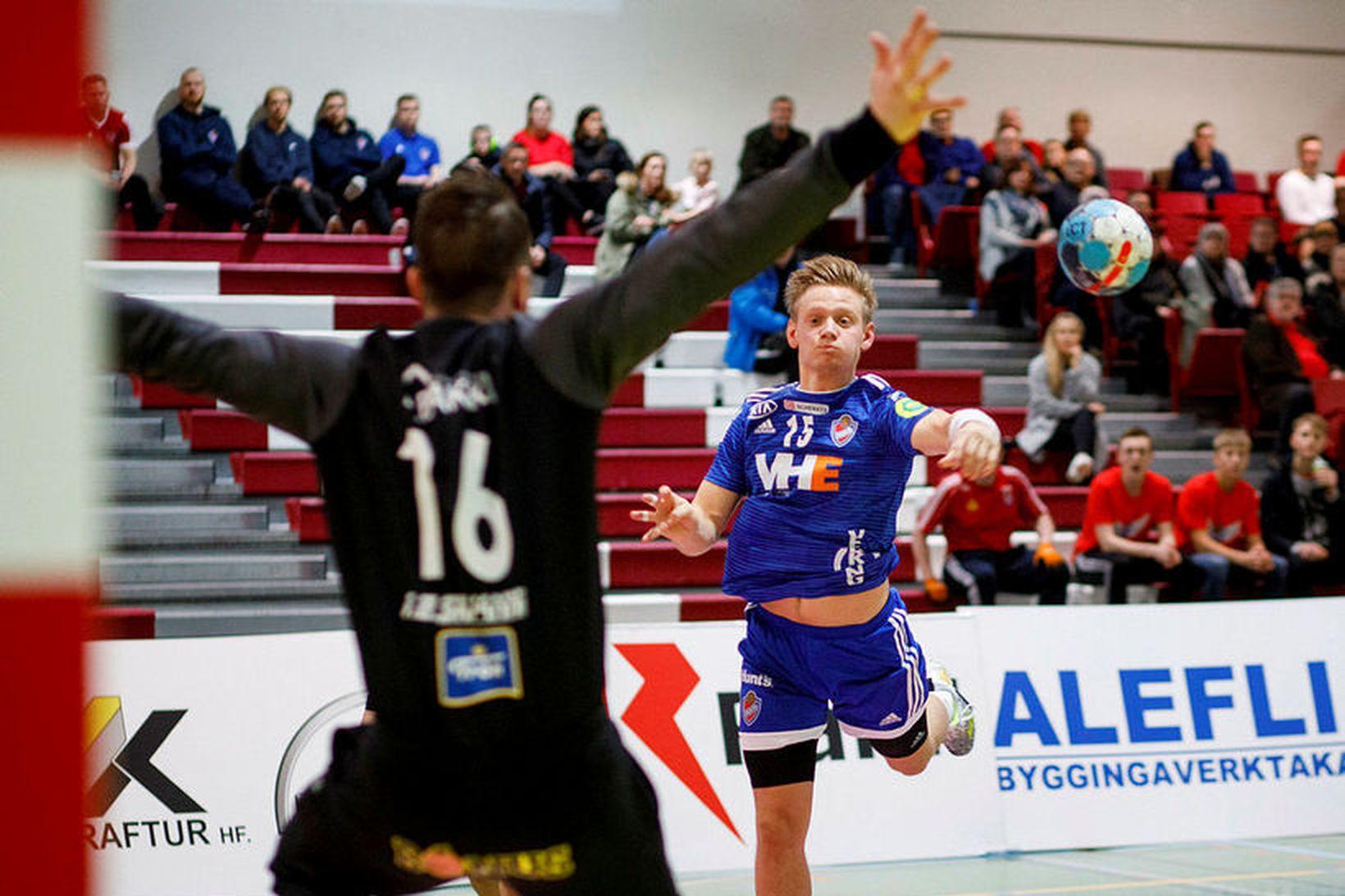 Pálmar Pétursson varði 13 skot í marki Aftureldingar í kvöld.
