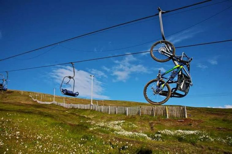 Bikes are transported by chair lift.