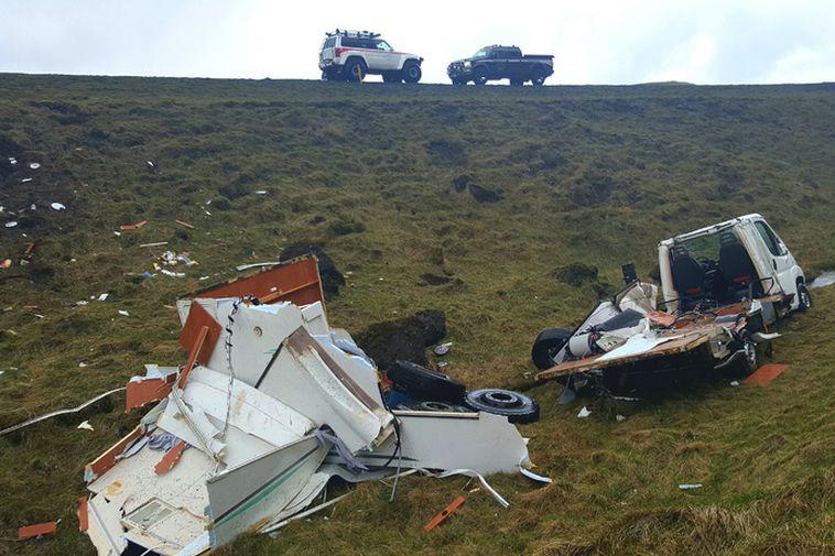 The camper van was completely destroyed.