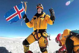 John Snorri Sigurjónsson á toppi K2 árið 2017.