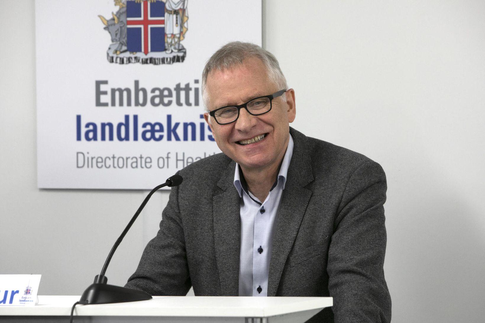 Þórólfur Guðnason á blaðamannafundinum.