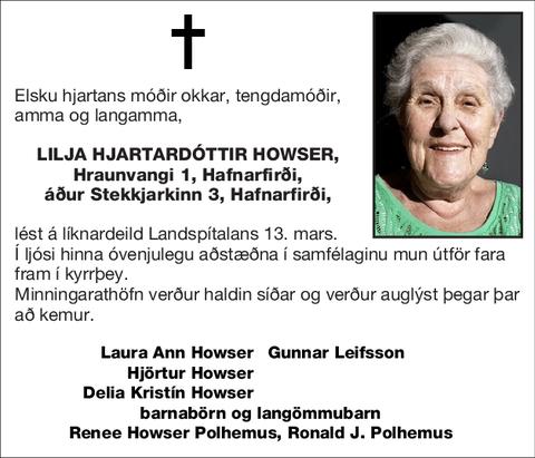 Lilja Hjartardóttir Howser,