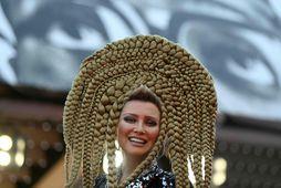 Elena Lenina var með óvenjulega hárgreiðslu í Cannes.