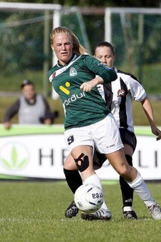 Greta Mjöll Samúelsdóttir í leiknum gegn Juvisy í gær.