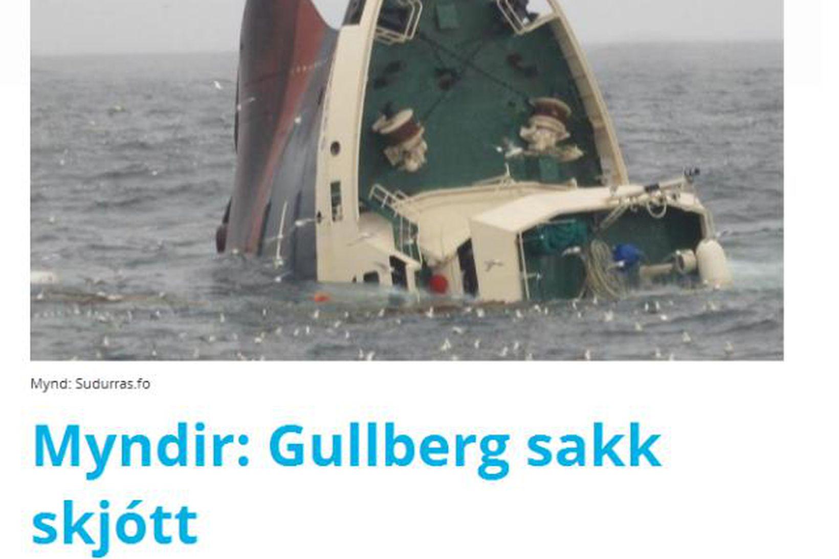 Gullbergið að sökkva.