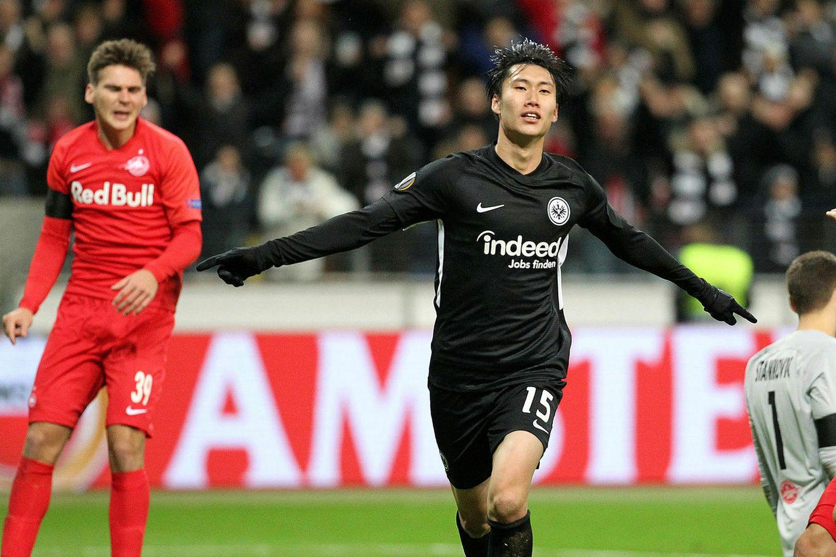Daichi Kamada skoraði þrjú mörk fyrir Eintracht Frankfurt í fyrri …