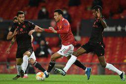 Mason Greenwood sækir að vörn Real Sociedad í kvöld.